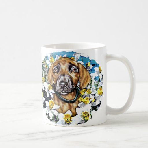 Great Dane Pup in Daffodils Brindle Coffee Mugs