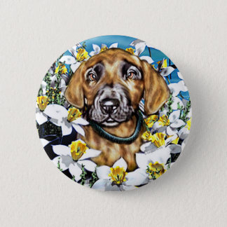 Great Dane Pup in Daffodils Brindle Pinback Button