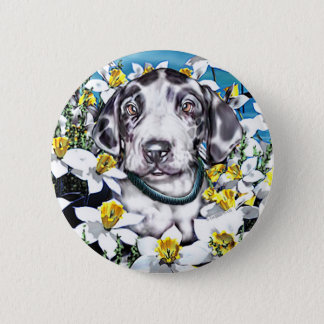 Great Dane Pup in Daffodils Harlequin Button