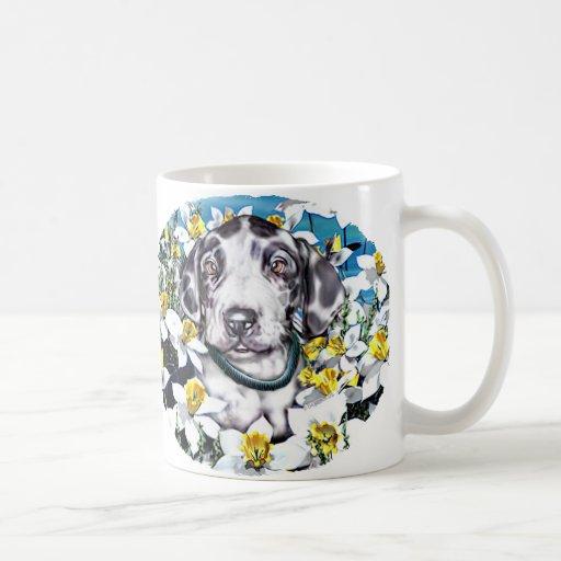 Great Dane Pup in Daffodils Harlequin Coffee Mugs