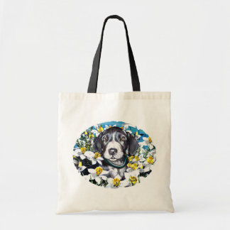 Great Dane Pup in Daffodils Mantle Tote Bags