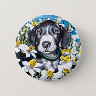 Great Dane Pup in Daffodils Mantle Button
