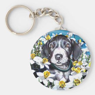 Great Dane Pup in Daffodils Mantle Keychain