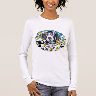 Great Dane Pup in Daffodils Mantle Long Sleeve T-Shirt