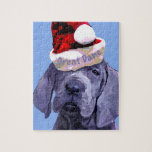 """Great Dane Puppy in Santa hat Puzzle<br><div class=""""desc"""">Great Dane lovers will love this guy. Man is he adorable,  but Im partial to great danes,  especially puppies. This face on several items.</div>"""