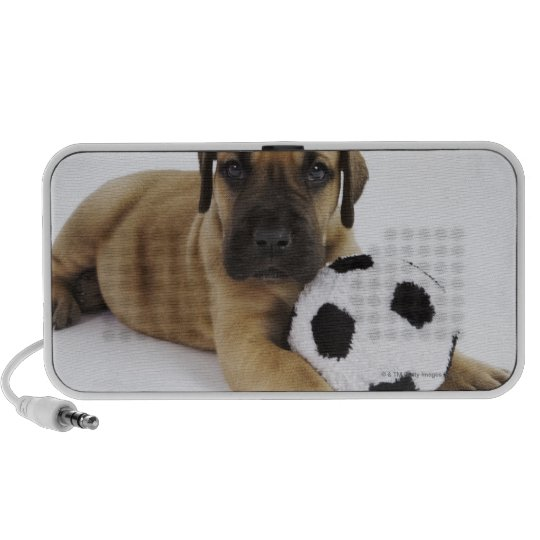 Great Dane puppy with toy soccer ball Portable Speaker