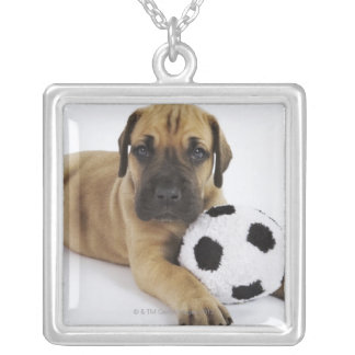 Great Dane puppy with toy soccer ball Silver Plated Necklace