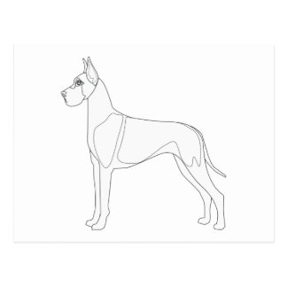 Great Dane Ready to Color Postcard
