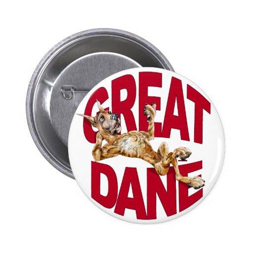 Great dane reclinó Brindle Pin Redondo 5 Cm