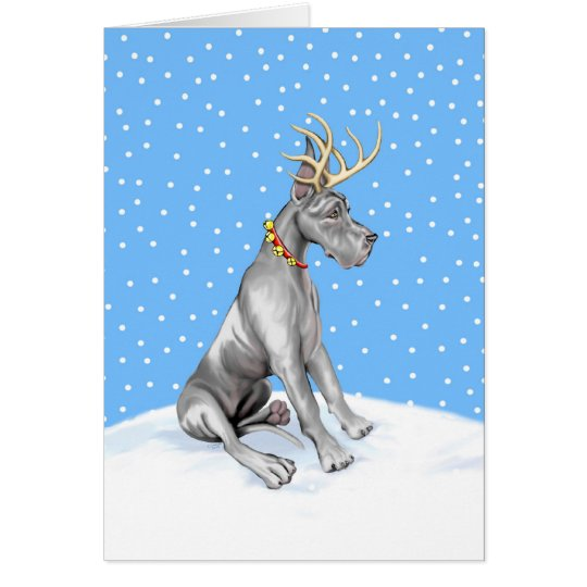 Great Dane Reindeer Christmas Black Card