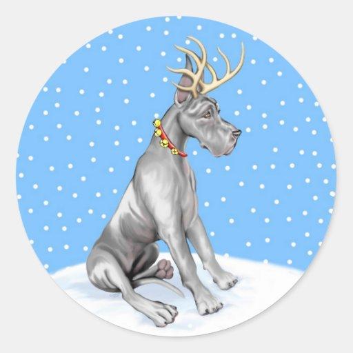 Great Dane Reindeer Christmas Black Classic Round Sticker