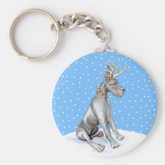 Great Dane Reindeer Christmas Black Keychain