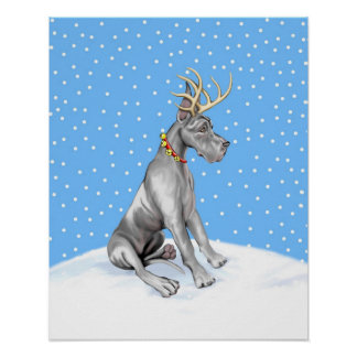 Great Dane Reindeer Christmas Black Poster