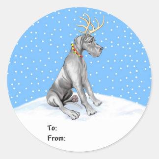 Great Dane Reindeer Christmas Black UC Gift Tags