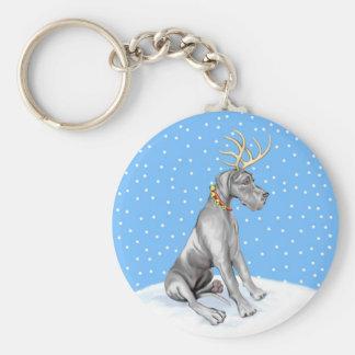 Great Dane Reindeer Christmas Black UC Keychain