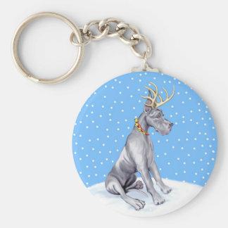 Great Dane Reindeer Christmas Blue Keychain