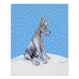 Great Dane Reindeer Christmas Blue Poster