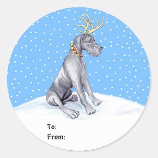 Great Dane Reindeer Christmas Blue UC Gift Tags