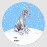 Great Dane Reindeer Christmas Blue UC Gift Tags Classic Round Sticker