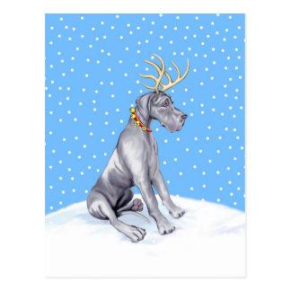 Great Dane Reindeer Christmas Blue UC Postcards