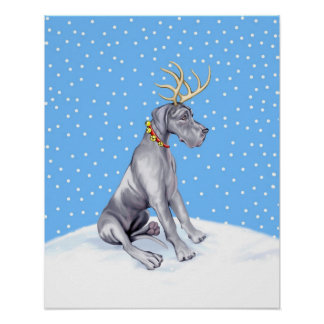 Great Dane Reindeer Christmas Blue UC Poster