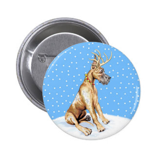 Great Dane Reindeer Christmas Brindle Button