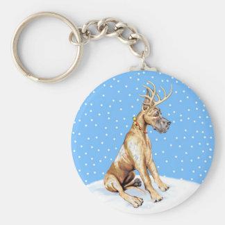 Great Dane Reindeer Christmas Brindle Keychain