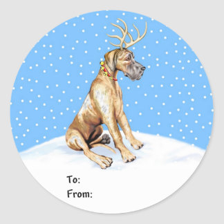 Great Dane Reindeer Christmas Brindle UC Gift Tags
