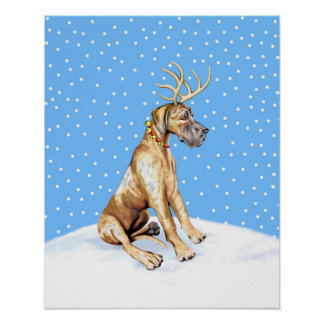 Great Dane Reindeer Christmas Brindle UC Poster