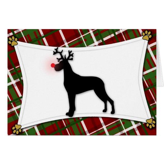Great Dane Reindeer Christmas Card