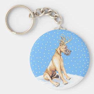 Great Dane Reindeer Christmas Fawn Keychain
