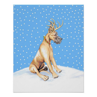 Great Dane Reindeer Christmas Fawn Poster