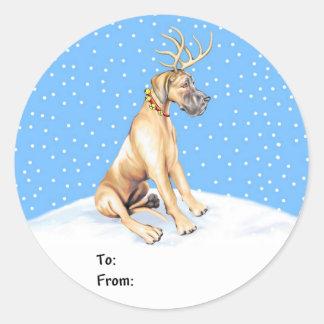 Great Dane Reindeer Christmas Fawn UC Gift Tags