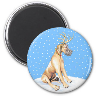 Great Dane Reindeer Christmas Fawn UC Magnet