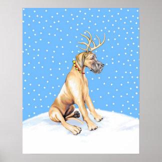 Great Dane Reindeer Christmas Fawn UC Poster