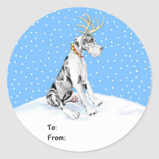 Great Dane Reindeer Christmas Harle UC Gift Tags Classic Round Sticker