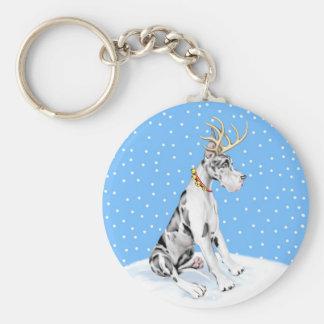 Great Dane Reindeer Christmas Harlequin Key Chain