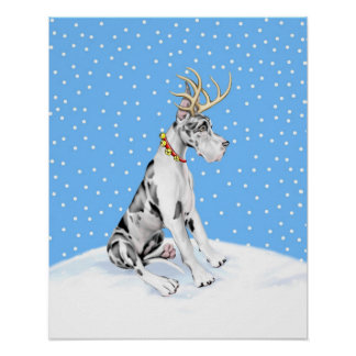 Great Dane Reindeer Christmas Harlequin Poster