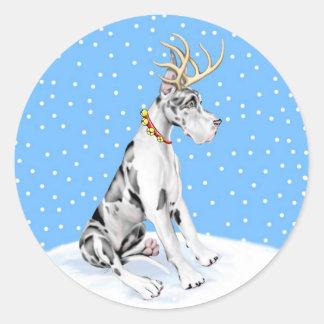 Great Dane Reindeer Christmas Harlequin Round Sticker