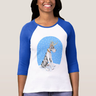 Great Dane Reindeer Christmas Harlequin T-Shirt