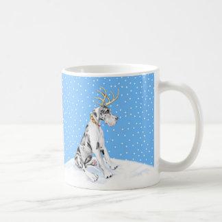 Great Dane Reindeer Christmas Harlequin UC Mugs