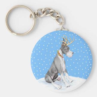 Great Dane Reindeer Christmas Mantle Keychain
