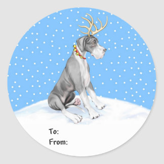 Great Dane Reindeer Christmas Mantle UC Gift Tags Classic Round Sticker