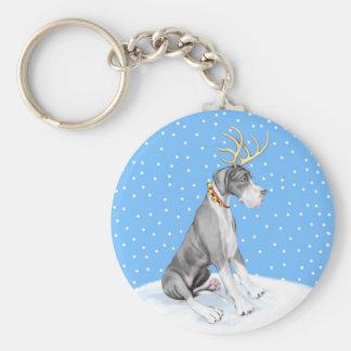 Great Dane Reindeer Christmas Mantle UC Keychain