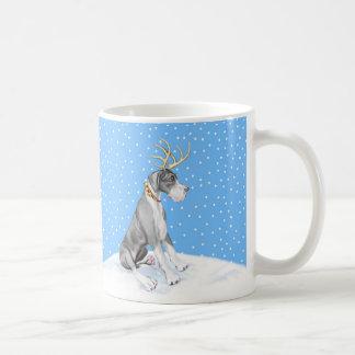 Great Dane Reindeer Christmas Mantle UC Coffee Mugs