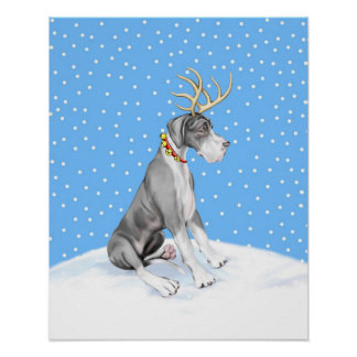 Great Dane Reindeer Christmas Mantle UC Poster