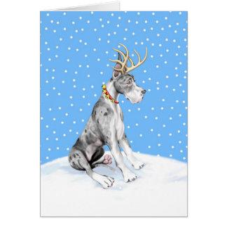 Great Dane Reindeer Christmas Merle Greeting Card