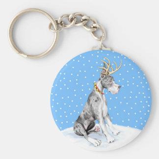Great Dane Reindeer Christmas Merle Keychain
