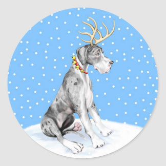 Great Dane Reindeer Christmas Merle UC Classic Round Sticker