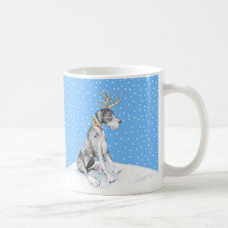 Great Dane Reindeer Christmas Merle UC Coffee Mug